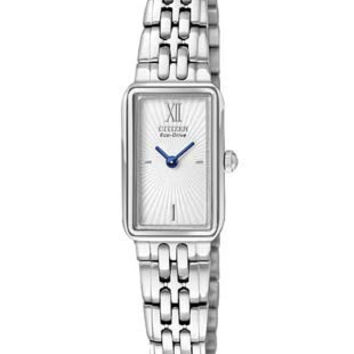 Citizen Eco-Drive Ladies Silhouette Watch - Textured Dial and Stainless Steel
