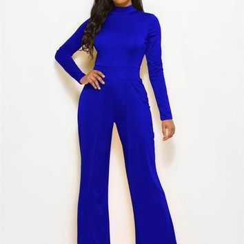 Avery High Neck Wide Leg Jumpsuit - Blue