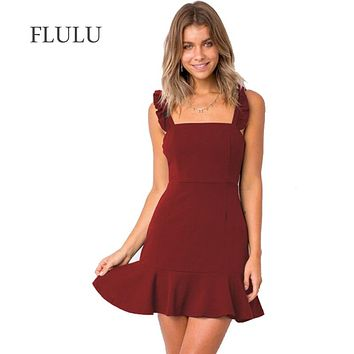 FLULU Summer Dress Women 2018 Sexy Slim Casual Elegant Solid Dress Vintage Sleeveless Slash Neck Evening Party A-Line Dresses