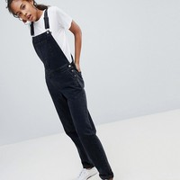 ASOS DESIGN Tall Denim Overall In Washed Black at asos.com