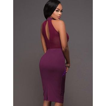 Purple Turtle Neck Rivets Women's Bodycon Dress