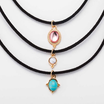 New fashion jewelry leather turquoise choker necklace 3 Pcs Set - Free Shipping