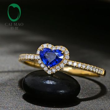 Caimao Heart Shape 0.60ct Natural Blue Sapphire 14k Yellow Gold Halo Diamond Engagement Ring for Women
