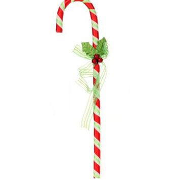 "12"" Mary Engelbreit Candy Cane with Holly Berry Bow Christmas Ornament"
