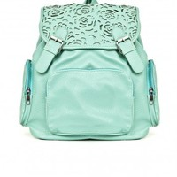 Missguided - Mischa Leather Razor Cut Backpack In Mint