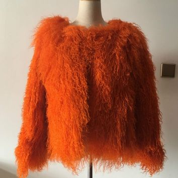 Mongolian fur coat orange fur jacket