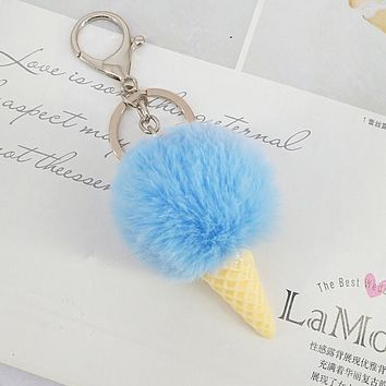 2017 Newest Fur Pom Pom Keychain pompom ice cream Fur key chain pompon porte clef Rabbit fur ball Key ring llaveros chaveiros