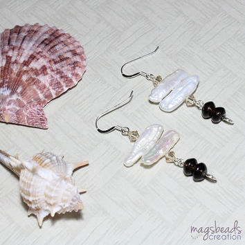 Stick Freshwater Pearls and Smoky Quartz Sterling Silver Earrings, June Birthstone, Beach, Summer
