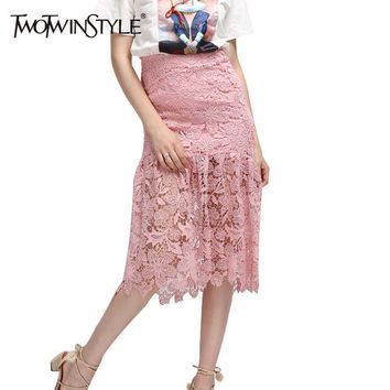 [TWOTWINSTYLE] Women Summer Lace Long Mermaid Skirt Lolita Sexy Tight Midi Skirts A line saia Slim 2017 Fashion New Clothing
