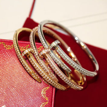 2014 New Arrivel Luxury Cater Nail Bangle Bracelet With Crystals  Rose Gold Plated  Women And Men Gold