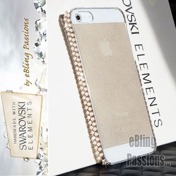 S A L E // (+Film & Stylus) Using Genuine SWAROVSKI Elements (Two Rows) Crystal iPhone 5 5s Bling Hard Case Cover