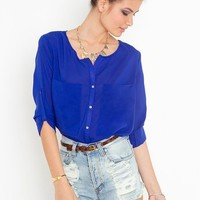 Bright On Blouse - Cobalt in  What's New at Nasty Gal