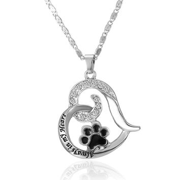 "Pet Memorial ""always in my Heart"" Paw Print Heart Keepsake Pendant"
