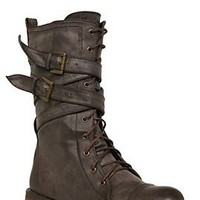Brown X Lace-Up Boots - 761013