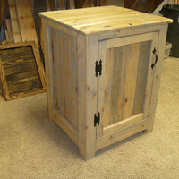 Reclaimed pallet wood nightstand, weathered oak, end table