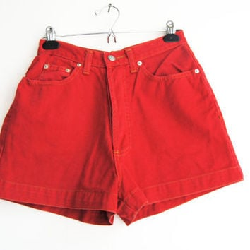 90s Red Denim Short, Vintage High Waisted Jean Shorts, Button Fly, Faded Red Denim, 80s Mom Jeans Shorts, 90s Shorts, Hot Pants, XS, Small