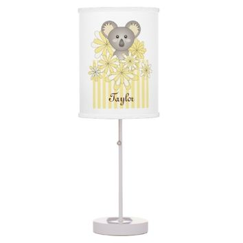 Cute Baby Koala Personalized Yellow Striped Table Lamps