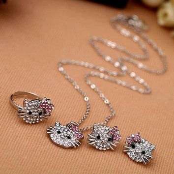 Crystal Cat Stud Ring, Earring And Necklace