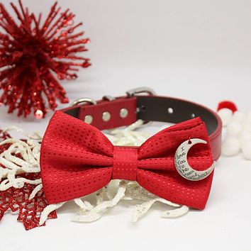 Handmade Dog Bow Tie Collar, Red Polka Dots, Pet Christmas accessory, I love you to the moon and back, Puppy Love