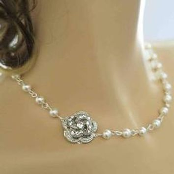 Vintage Inspired Bridal Pearl Necklace with Crystal Rose Side Brooch