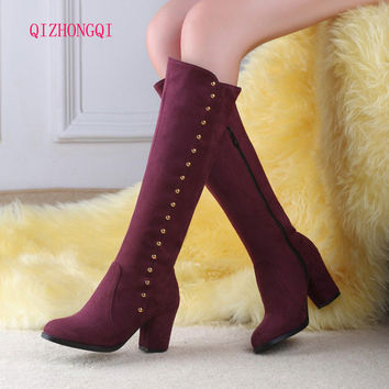 new 2017 Big size 34-44 high quality women shoes hot new arrivals mid calf wedges boots suede leather autumn winter woman boots