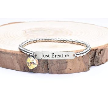 Beaded Inspirational Bracelet With Crystals From Swarovski By Pink Box - Just Breathe