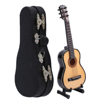 Miniature Wooden Wood Acoustic Guitar w/ Case and Stand