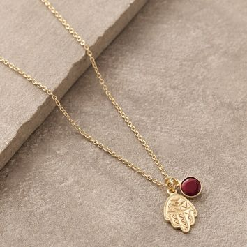 Hamsa Ruby Necklace