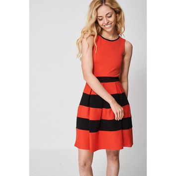 Red and Black Striped Prom Skater Dress