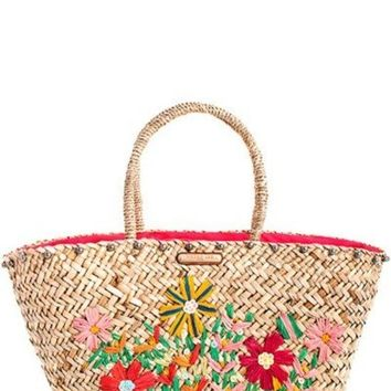 Nicole Lee Flower Woven Straw Shopper Bag