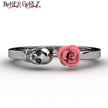 Women's Stainless Steel Skull and Rose Ring