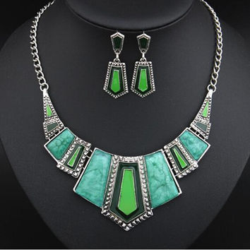 New Fashion Vintage Jewelry Sets For Women Big Turquoise Enamel Necklace Earrings Jewelry Set 2T012