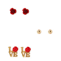FOREVER 21 Romantic Rose Stud Set Red/Gold One