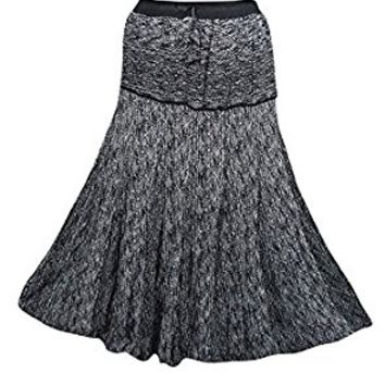 Mogul Womens Medieval Skirts Black Ethnic Print Flared Boho Sexy Long Maxi Skirts