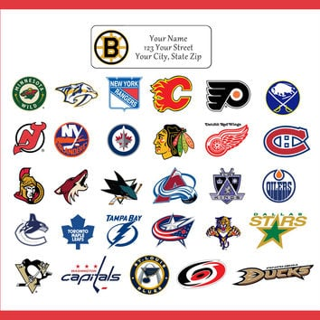 NHL Address Labels Hockey Return Address Labels, sports teams