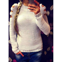 Cut Out Long Sleeve Knit Shirt