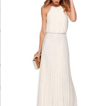 Hot sale European style summer dress chiffon sleevless halter backless sexy long party dress white elegant maxi beach dress