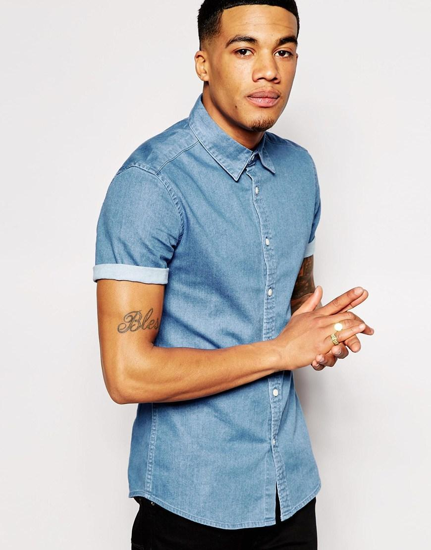 Asos asos skinny denim shirt with short from asos for Baseball button up t shirt dress