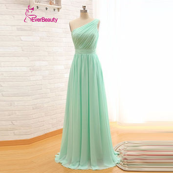 One Strap Long Bridesmaid Dress Mint Green Chiffon A Line Pleated Bridesmaid Dress Under 50 Wedding Party Dress Vestido De Festa