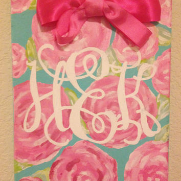 Lilly Pulitzer First Impressions Monogram Bow Canvas