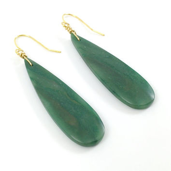 Teardrop Earrings, Stone, Dangly, Drop, Gemstone, Green Jade, Emerald, Boho, Bohemian, Minimalist Earrings