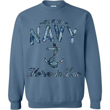 Proud Navy Mother-in-Law Sweatshirt (Camo)