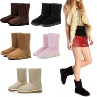 Winter Women Lady Warm Faux Suede Fur Lined Mid-calf Snow Flat Boots Shoes 18795 Women's shoes