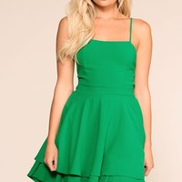 Kayla Green Layered Skater Dress