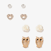Owl, Flower, Heart & Bead Stud Set