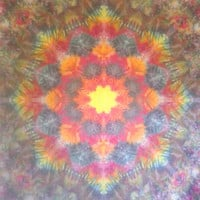 Giant mandala tie dye tapestry or wall hanging in yellow, orange, red, grey