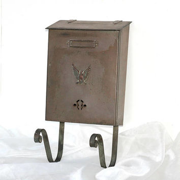 Vintage Mailbox with Newspaper Holder | Porch Mailbox Brass with Eagle on Front & Nameplate Slot | Old Letter Box Lift Up Lid | Post Box