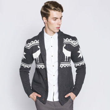 Men Sweater 2016 New Arrival Fashion Jacquard Deer print Mens Cardigan Moose Pattern Single Breasted Knitted Sweater MQ23