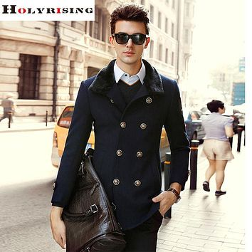 Winter Men Wool Coats Long Casual Double Button Jackets Turn Collar Pea coats Solid Overcoats Khaki Black Dark Blue