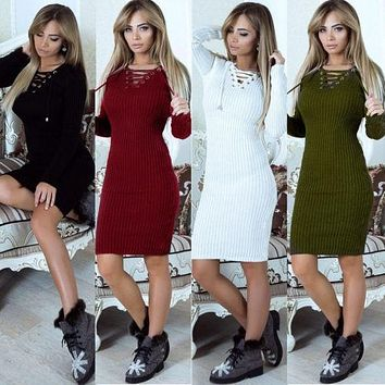 Women Bandage Bodycon Casual Long Sleeve Autumn Solid Lace Up Evening Party Short Mini Dress
